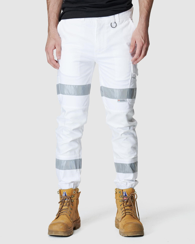 ELWD MENS  White Mens Reflective Cuffed Pant0