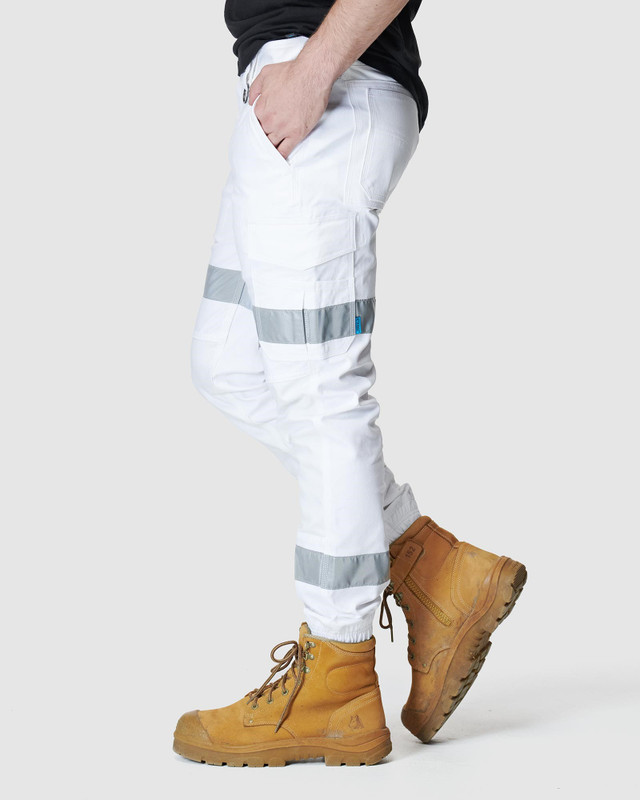 ELWD MENS  White Mens Reflective Cuffed Pant1