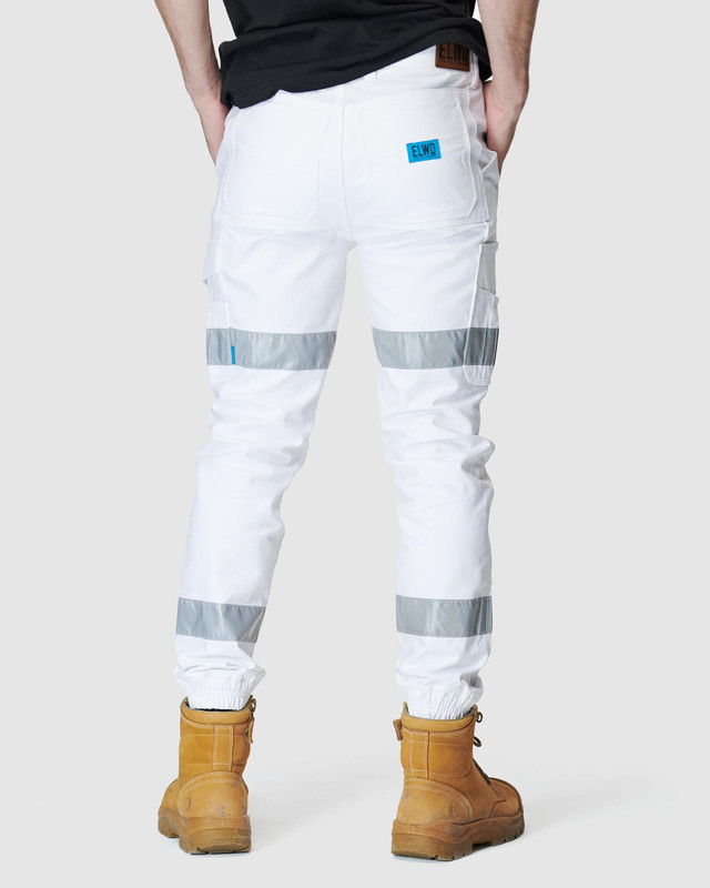 ELWD MENS  White Mens Reflective Cuffed Pant2