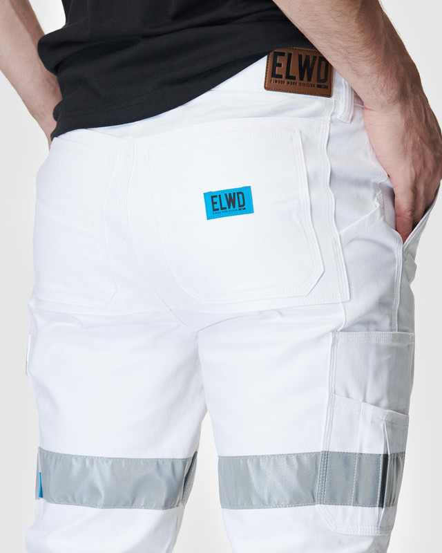 ELWD MENS  White Mens Reflective Cuffed Pant3
