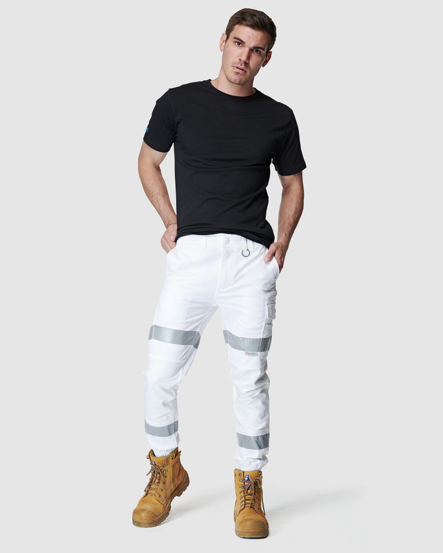 ELWD MENS  White Mens Reflective Cuffed Pant4