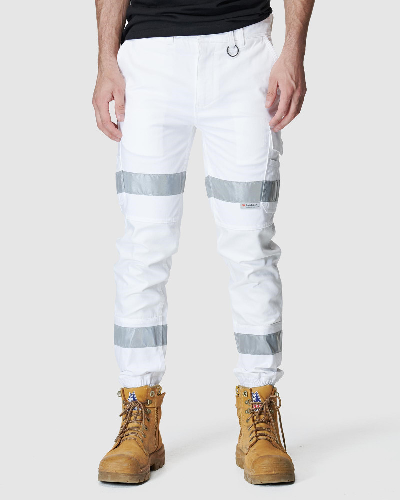 ELWD Mens Reflective Cuffed Pant White
