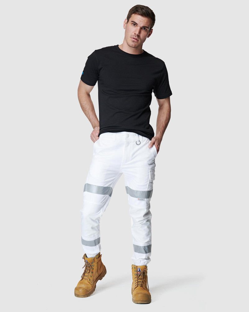ELWD Mens MENS REFLECTIVE CUFFED PANT White 4