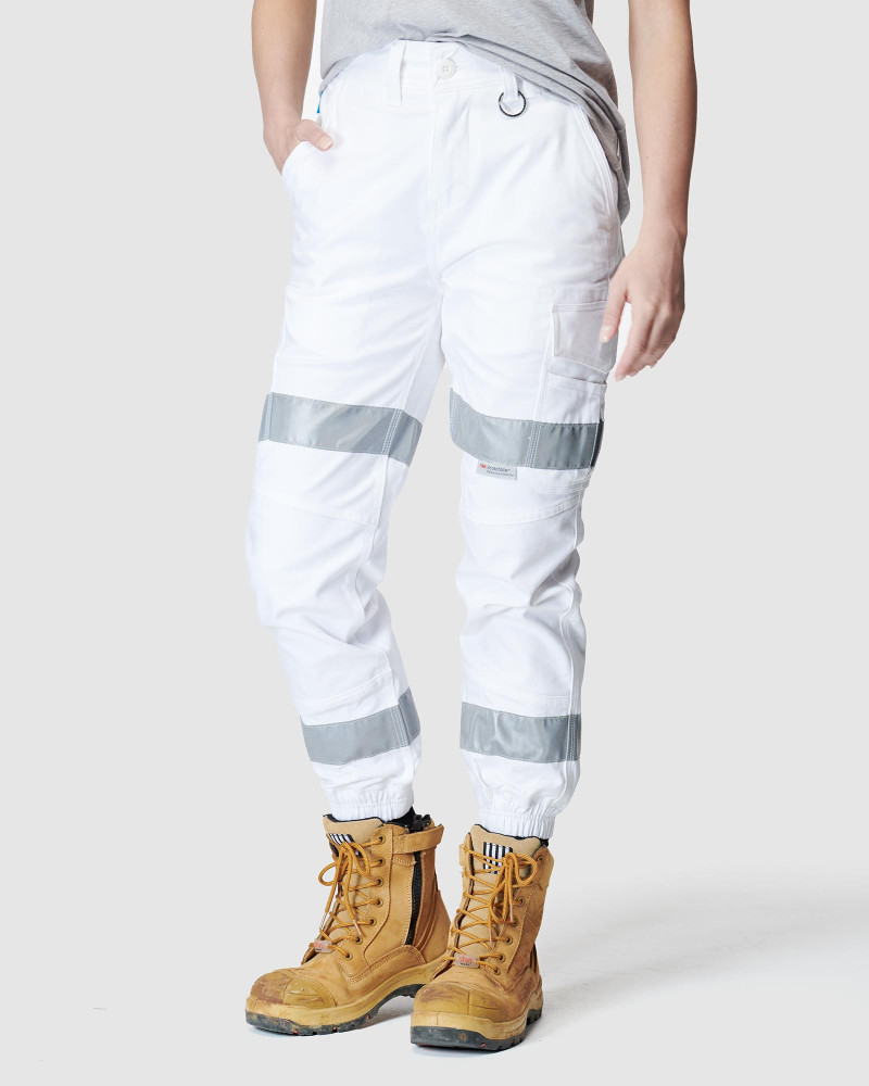 ELWD Womens Reflective Cuffed Pant White