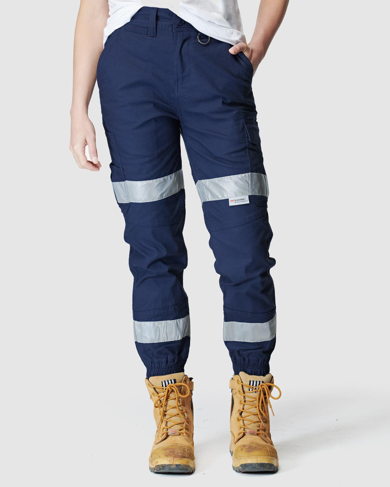 ELWD Womens Reflective Cuffed Pant Navy