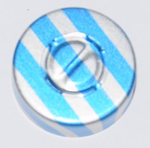 20mm Blue Stripe Aluminum Center Tear Seals - 100 Pack
