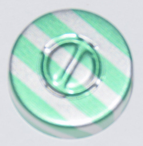 20mm Green Stripe Aluminum Center Tear Seals - 100 Pack