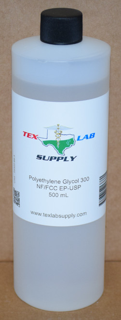 Polyethylene Glycol 300 (PEG 300)NF/FCC/EP/USP/Kosher 500 mL (16 Fl. Oz.)