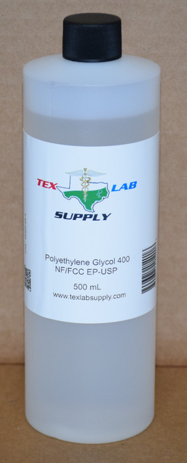 Polyethylene Glycol 400 (PEG 400) NF/FCC/EP/USP/Kosher 500 mL (16 Fl. Oz.)