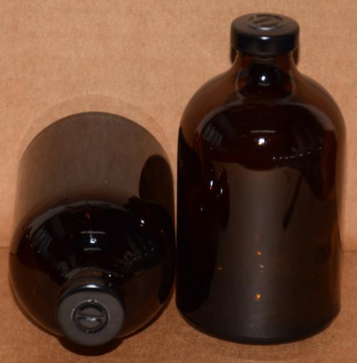 100 mL Amber Sterile Vial w/ Black Aluminum Center Tear Seal 52mm X 95mm