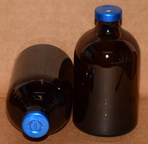 100 mL Amber Sterile Vial w/ Blue Aluminum Center Tear Seal 52mm X 95mm