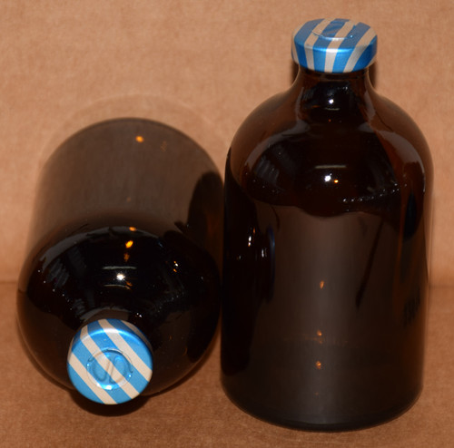 100 mL Amber Sterile Vial w/ Blue Stripe Aluminum Center Tear Seal 52mm X 95mm