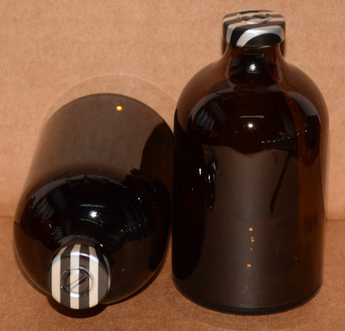 100 mL Amber Sterile Vial w/ Black Stripe Aluminum Center Tear Seal 52mm X 95mm