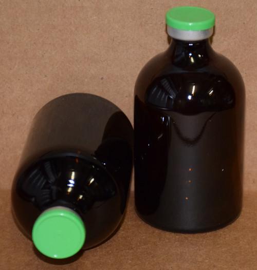 100 mL Amber Sterile Vial w/ Meadow Green Aluminum Plain Flip Cap Seal 52mm X 95mm