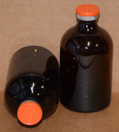 100 mL Amber Sterile Vial w/ Orange Aluminum Plain Flip Cap Seal 52mm X 95mm