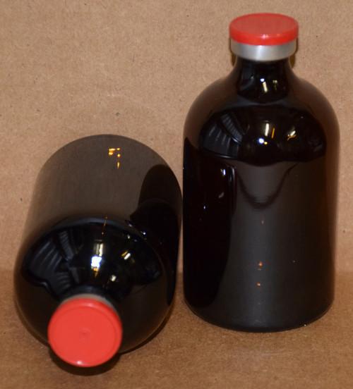 100 mL Amber Sterile Vial w/ Red Aluminum Plain Flip Cap Seal 52mm X 95mm