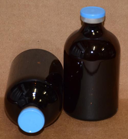 100 mL Amber Sterile Vial w/ Sky Blue Aluminum Plain Flip Cap Seal 52mm X 95mm