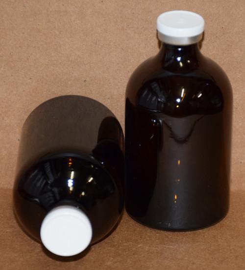 100 mL Amber Sterile Vial w/ White Aluminum Plain Flip Cap Seal 52mm X 95mm