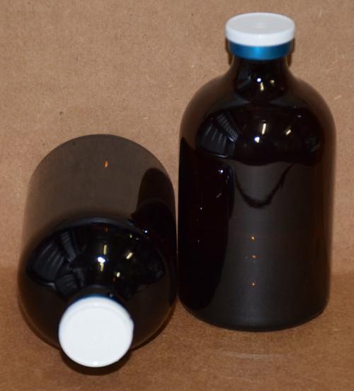 100 mL Amber Sterile Vial w/ White On Blue Aluminum Plain Flip Cap Seal 52mm X 95mm