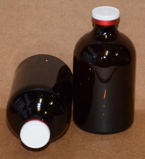 100 mL Amber Sterile Vial w/ White On Red Aluminum Plain Flip Cap Seal 52mm X 95mm