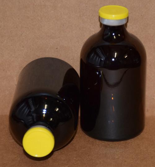 100 mL Amber Sterile Vial w/ Yellow Aluminum Plain Flip Cap Seal 52mm X 95mm