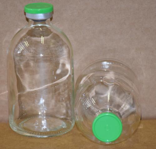 100 mL Clear Sterile Vial w/ Meadow Green Aluminum Plain Flip Cap Seal 52mm X 95mm