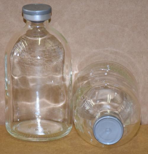 100 mL Clear Sterile Vial w/ Metallic Silver Aluminum Plain Flip Cap Seal 52mm X 95mm