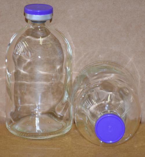 100 mL Clear Sterile Vial w/ Purple Aluminum Plain Flip Cap Seal 52mm X 95mm
