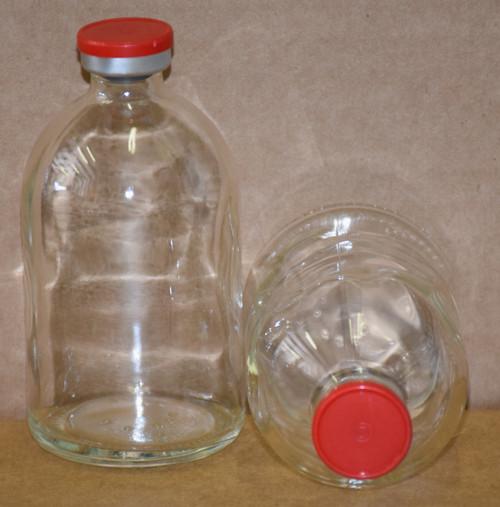 100 mL Clear Sterile Vial w/ Red Aluminum Plain Flip Cap Seal 52mm X 95mm