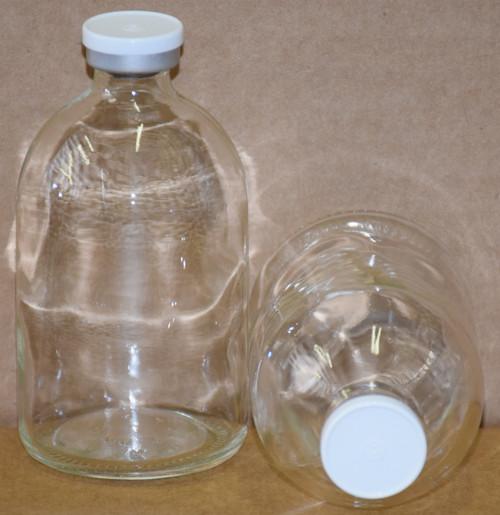 100 mL Clear Sterile Vial w/ White Aluminum Plain Flip Cap Seal 52mm X 95mm