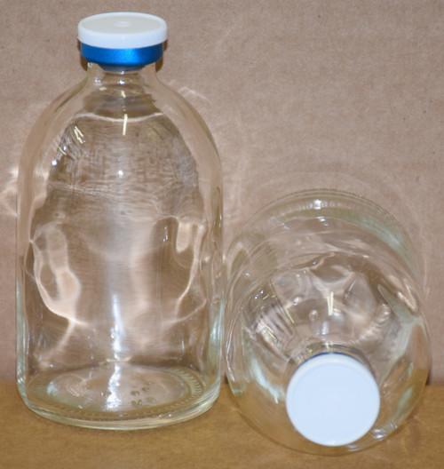 100 mL Clear Sterile Vial w/ White On Blue Aluminum Plain Flip Cap Seal 52mm X 95mm