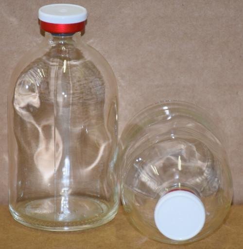 100 mL Clear Sterile Vial w/ White On Red Aluminum Plain Flip Cap Seal 52mm X 95mm