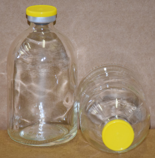 100 mL Clear Sterile Vial w/ Yellow Aluminum Plain Flip Cap Seal 52mm X 95mm