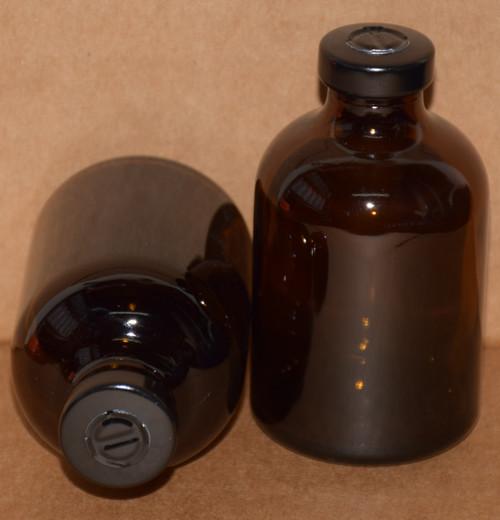 50 mL Amber Sterile Vial w/ Black Aluminum Center Tear Seal 43mm X 73mm