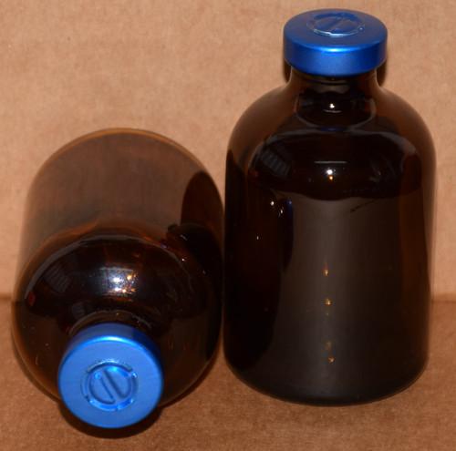 50 mL Amber Sterile Vial w/ Blue Aluminum Center Tear Seal 43mm X 73mm