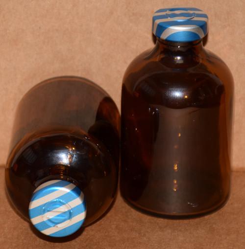 50 mL Amber Sterile Vial w/ Blue Stripe Aluminum Center Tear Seal 43mm X 73mm