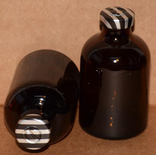 50 mL Amber Sterile Vial w/ Black Stripe Aluminum Center Tear Seal 43mm X 73mm