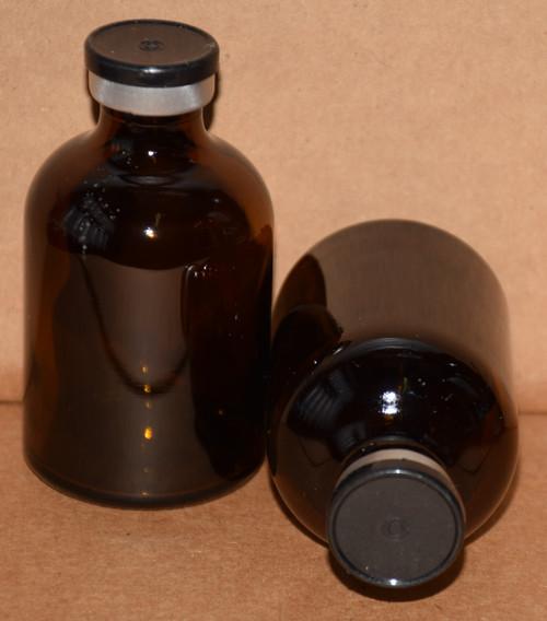 50 mL Amber Sterile Vial w/ Black Aluminum Plain Flip Cap Seal 43mm X 73mm