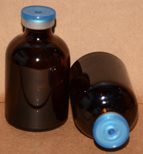 50 mL Amber Sterile Vial w/ Blue Clear Aluminum Plain Flip Cap Seal 43mm X 73mm