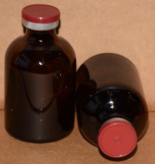 50 mL Amber Sterile Vial w/ Brick Red Aluminum Plain Flip Cap Seal 43mm X 73mm