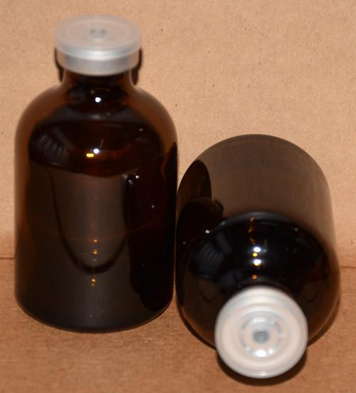 50 mL Amber Sterile Vial w/ Clear Aluminum Plain Flip Cap Seal 43mm X 73mm