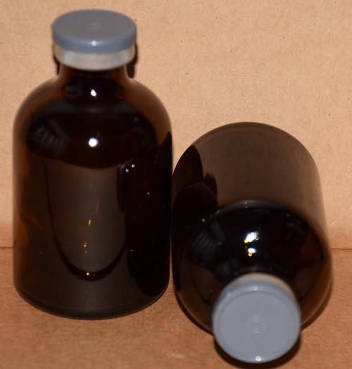 50 mL Amber Sterile Vial w/ Dark Gray Aluminum Plain Flip Cap Seal 43mm X 73mm