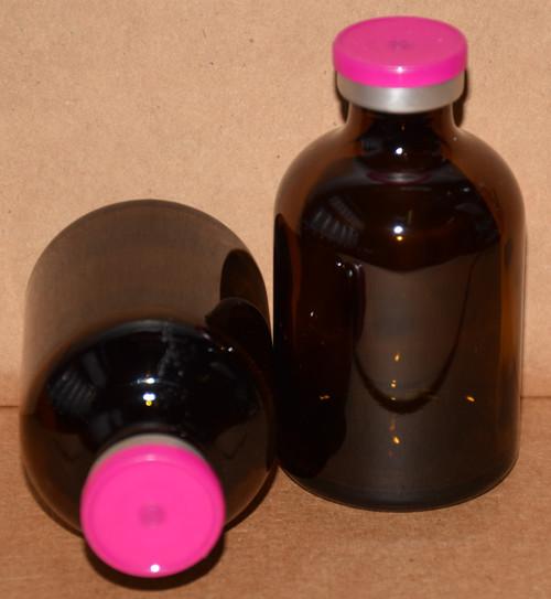 50 mL Amber Sterile Vial w/ Fuchsia Pink Aluminum Plain Flip Cap Seal 43mm X 73mm