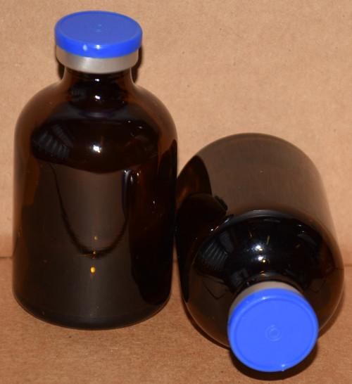 50 mL Amber Sterile Vial w/ Medium Blue Aluminum Plain Flip Cap Seal 43mm X 73mm