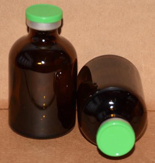 50 mL Amber Sterile Vial w/ Meadow Green Aluminum Plain Flip Cap Seal 43mm X 73mm
