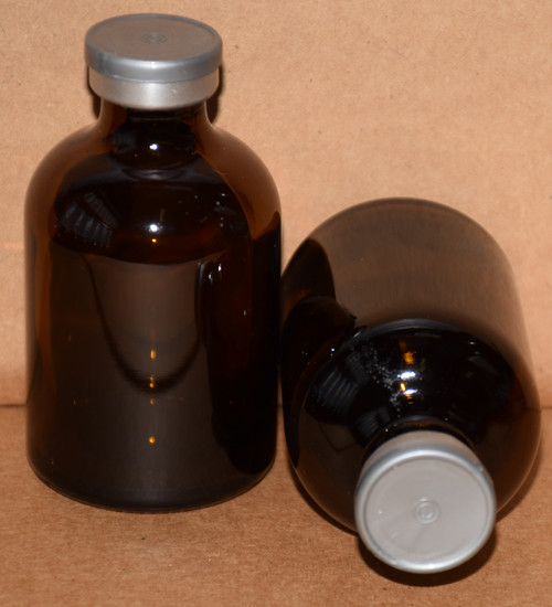 50 mL Amber Sterile Vial w/ Metallic Silver Aluminum Plain Flip Cap Seal 43mm X 73mm