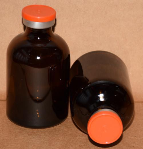 50 mL Amber Sterile Vial w/ Orange Aluminum Plain Flip Cap Seal 43mm X 73mm