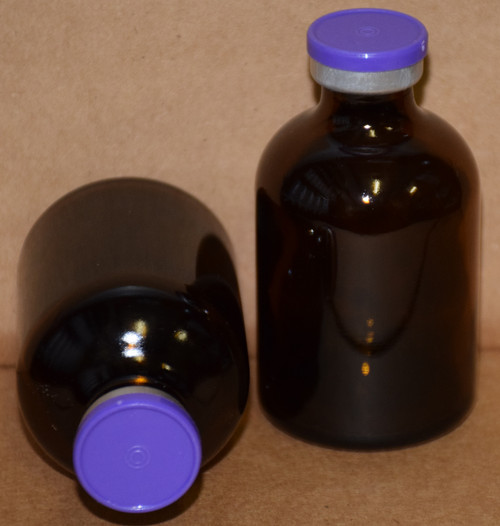 50 mL Amber Sterile Vial w/ Purple Aluminum Plain Flip Cap Seal 43mm X 73mm