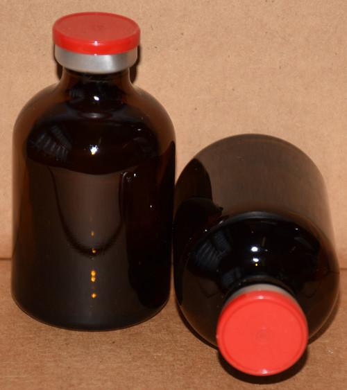 50 mL Amber Sterile Vial w/ Red Aluminum Plain Flip Cap Seal 43mm X 73mm