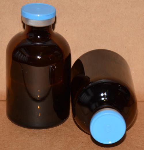 50 mL Amber Sterile Vial w/ Sky Blue Aluminum Plain Flip Cap Seal 43mm X 73mm